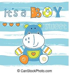 douche, nijlpaard, weinig; niet zo(veel), baby, schattig