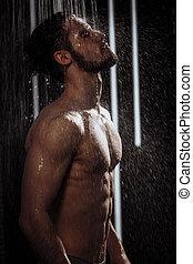 douche, prendre, apprécier, jeune homme