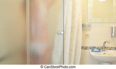 douche, salle bains, femme, avoir