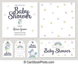 douche, schattig, baby, kaart, eenhoorn
