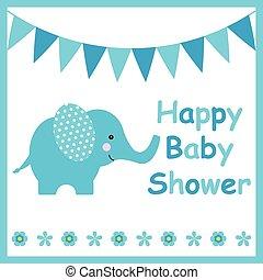 douche, schattig, baby, kaart, elefant