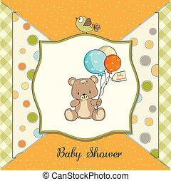 douche, schattig, baby, kaart, teddy