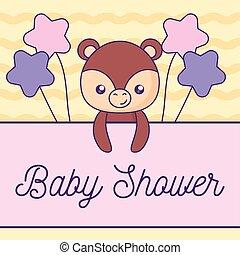 douche, schattig, kaart, beer, baby