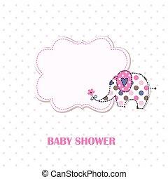 douche, schattig, spotprent, baby olifant