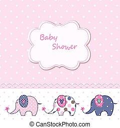 douche, schattig, spotprent, baby, olifanten