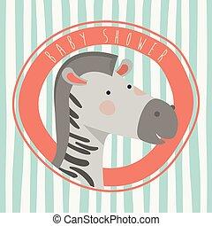 douche, schattig, zebra, kaart, baby