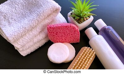 douche, schoonheidsmiddel, treatment., supplies., spa, producten, samenstelling