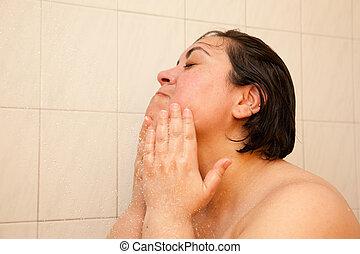 douche, vrouw, was, gezicht