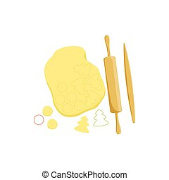 Dough And Rolling Pin Baking Process  Kitchen Equipment Isolated Item