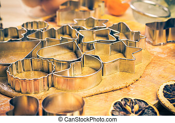Dough cookie cutters Christmas gingerbread iced Kitchen table in