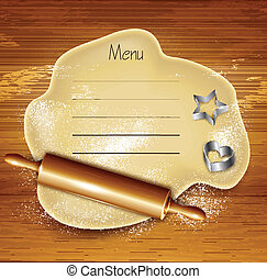 Dough, rolling pin, cookie cutters on the wood. Vector