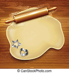 Dough, rolling pin, cookie cutters on the wood. Vector illustration