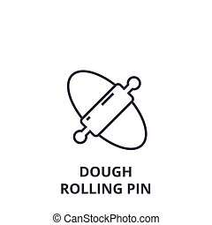 dough rolling pin line icon, outline sign, linear symbol, vector, flat illustration