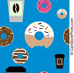 Doughnut and coffee seamless pattern