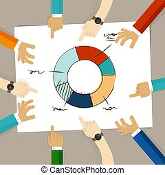 doughnut circle chart hand drawing sketch analysis. team member together working discuss in a meeting hands pointing to paper