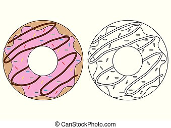 Doughnut. Coloring book. Activity for children.