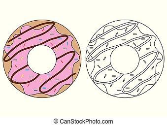 Doughnut. Coloring book. Activity for children.