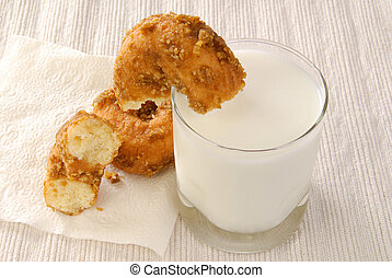 Doughnut dunked in milk