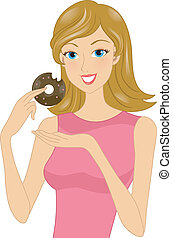 Doughnut Girl - Illustration of a Woman Holding a Partially...