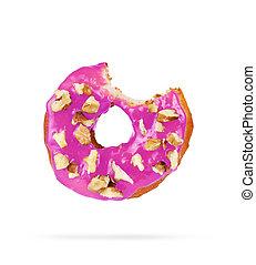 doughnut has been bitten on a white background.