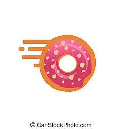 Doughnut illustration - Doughnut with speed lines symbol, go...