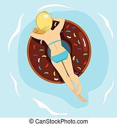 Doughnut Inflatable Back - Woman lying back on inflatable...