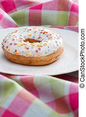 Doughnut on a plate