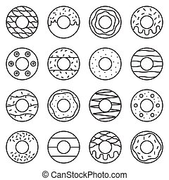doughnut outline icon in various style