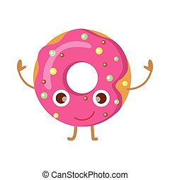 Doughnut with Pink Sprinkles Funny Happy Character -...