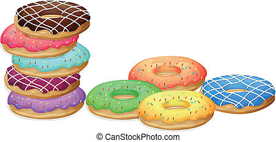 Doughnuts - Illustration of colorful donuts