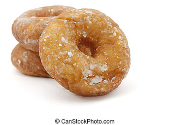Doughnuts over white background