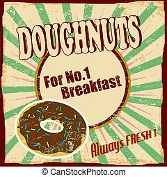 Doughnuts vintage poster