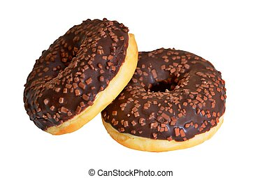 Doughnuts with chocolate glaze isolated on a white background