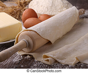dough,rolling pin and flour