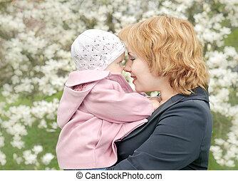 doughter, park., felicidade, mãe