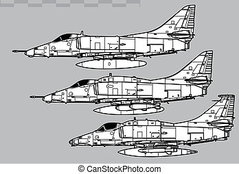 Vector drawing of navy attack aircraft. Side view. Image for illustration and infographics.