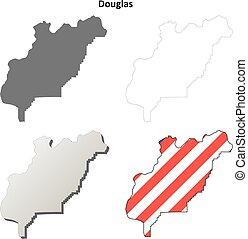 Douglas County, Washington outline map set
