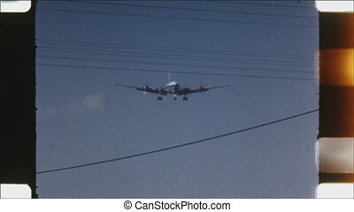 Douglas DC6-B coming into land. - Douglas DC6-B coming in to...