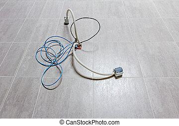 douille, puissance, communication, floor., carrelé, venir, câbles, dehors