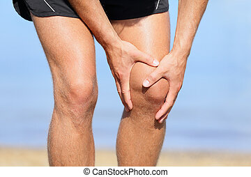 douleur, coureur, -, courant, genou, blessure, homme