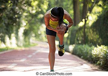 douleur, coureur, souffrance, sports, courant, femme, genou, blessure