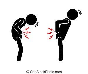 douleur, estomac, arrière douleur, pictogramme