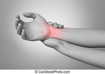 douleur, femme, poignet