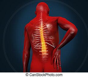 douleur, figure, avoir, numérique, rouges