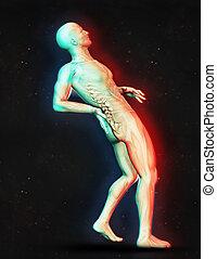 douleur, figure, dos, tenue, mâle, 3d