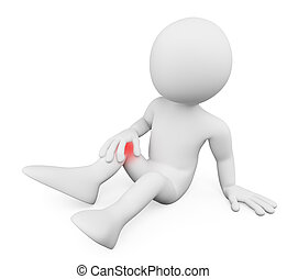 douleur, gens., genou, blanc, 3d, homme