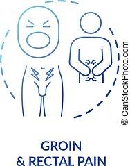douleur, icône, concept, rectal, aine