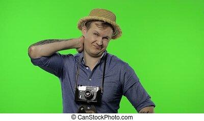 douleur, il, homme, portrait, photographe, tired., touriste, cou, chroma, clã©, avoir