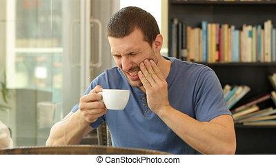 douleur, souffrance, café, boire, homme, dent