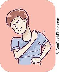 douleur, symptôme, homme, épaule, muscle, illustration